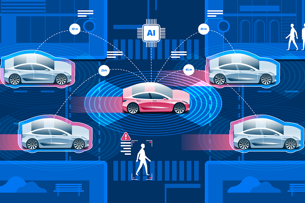 Illustrated Vector Image Of Autonomous Vehicles Which Representing AI Concept.